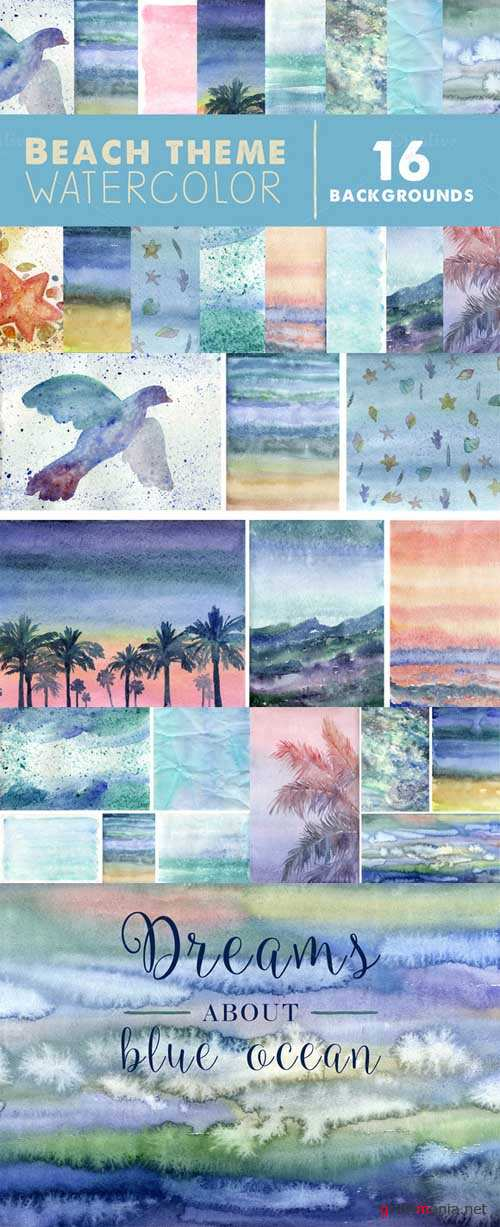 Watercolor beach backgrounds - 595080