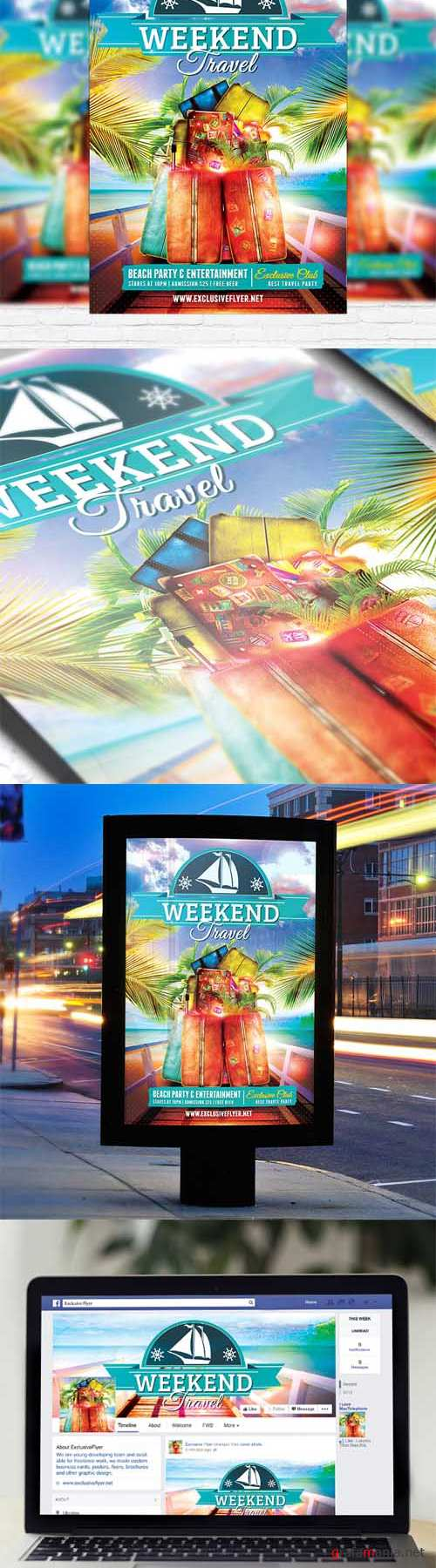Flyer Template - Travel Weekend + Facebook Cover