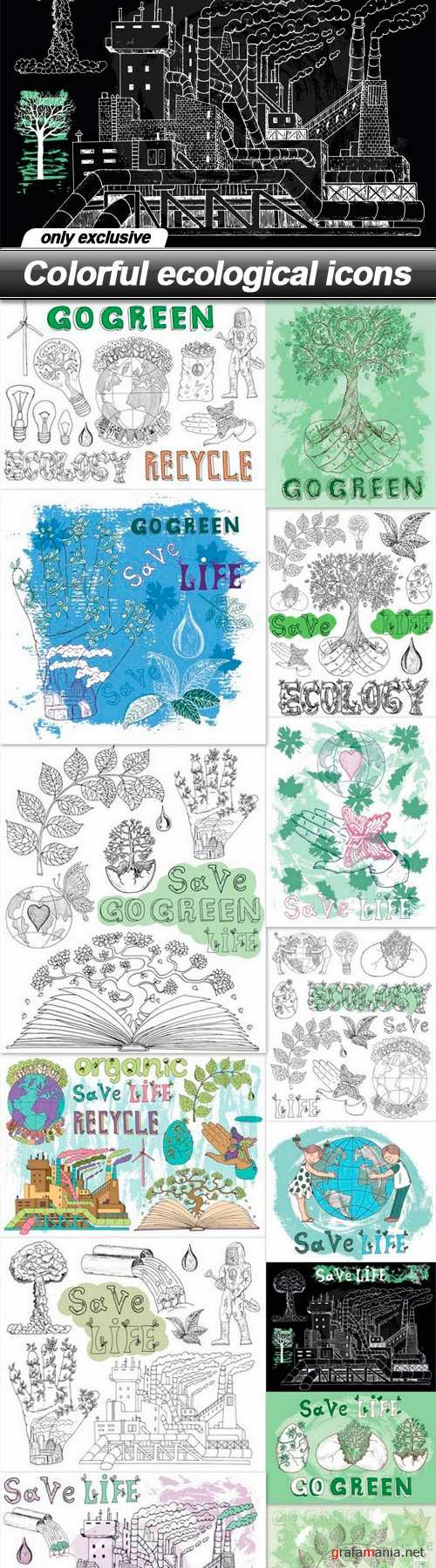 Colorful ecological icons - 14 EPS
