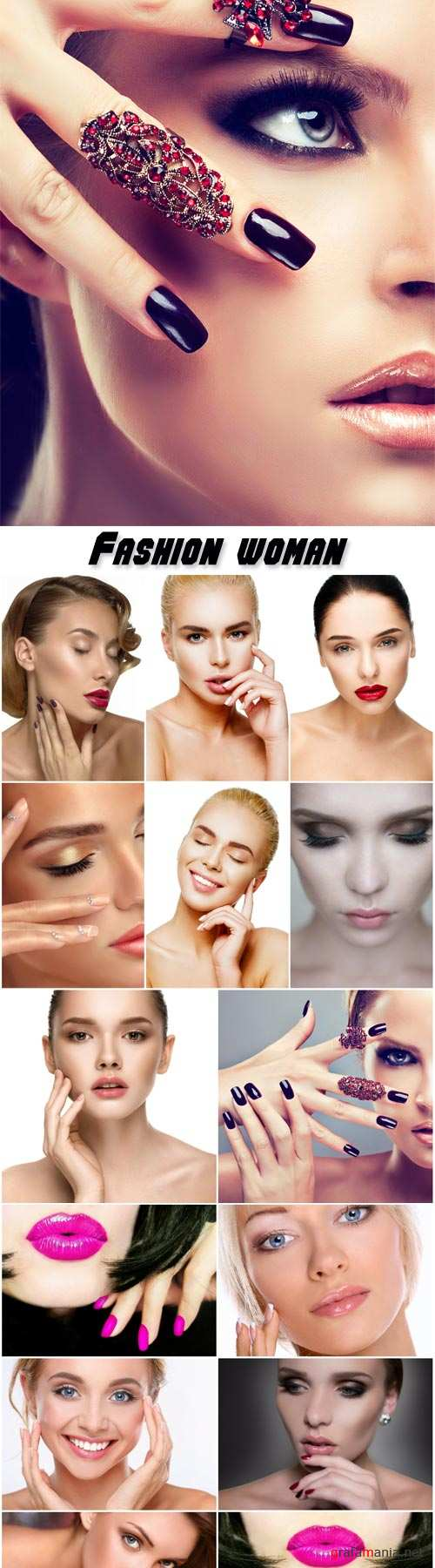 Luxury fashion woman, manicure nail, cosmetics and makeup