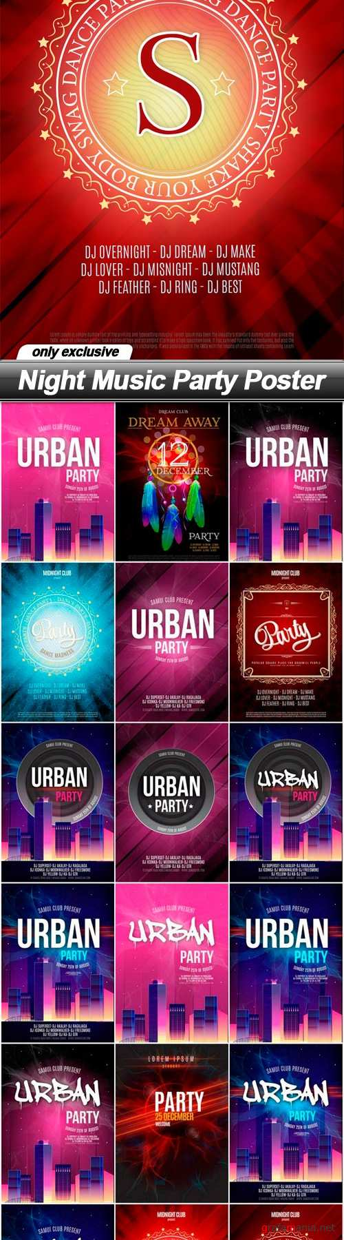 Night Music Party Poster - 19 EPS