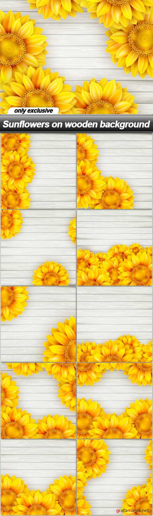 Sunflowers on wooden background - 10 EPS