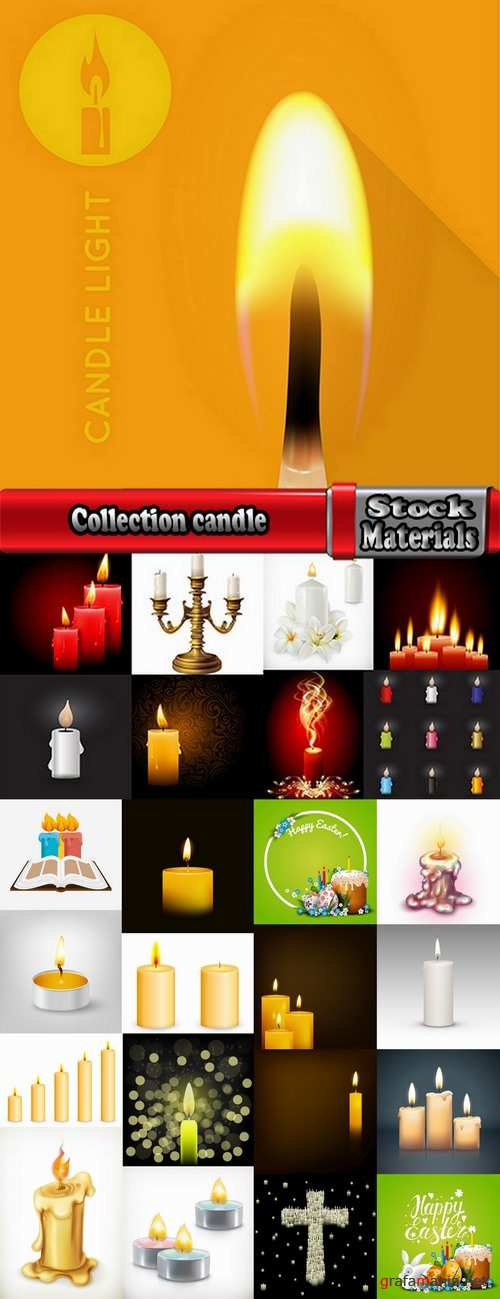 Collection candle fire flame vector image 25 EPS