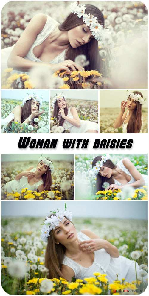 Girl in a wreath from daisies, dandelions field