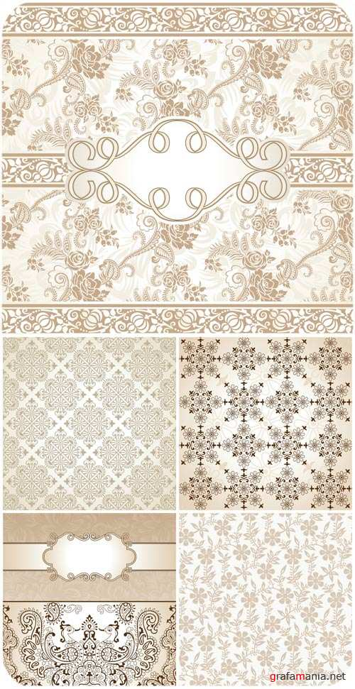 Backgrounds with beautiful patterns, floral ornaments vector