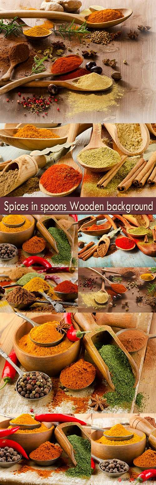 Spices in spoons Wooden background