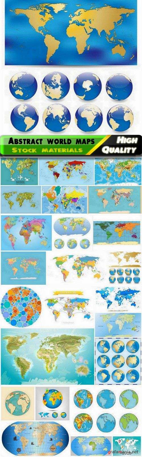 Abstract world globe and world maps - 25 Eps