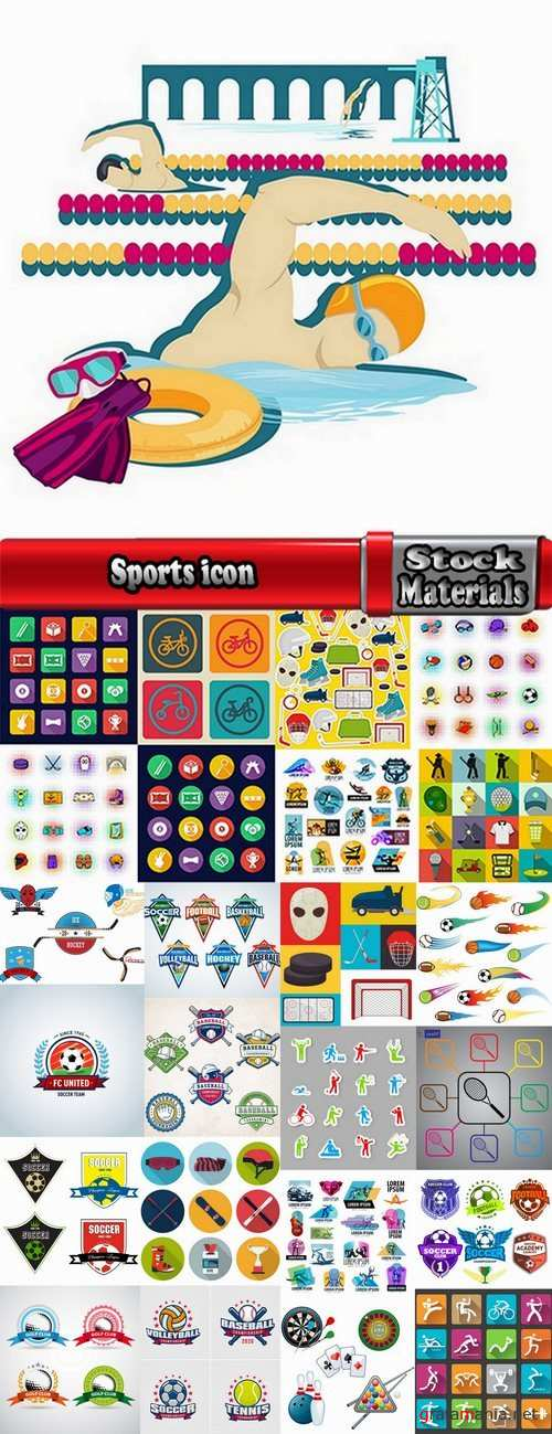 Sports icon collection different sports vector image 25 EPS
