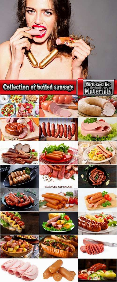 Collection of boiled sausage banger meat products 25 HQ Jpeg