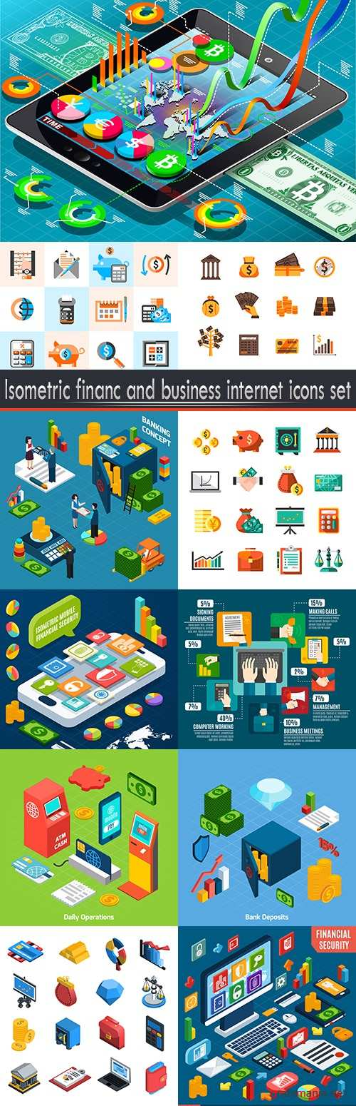 Isometric financ and business internet icons set