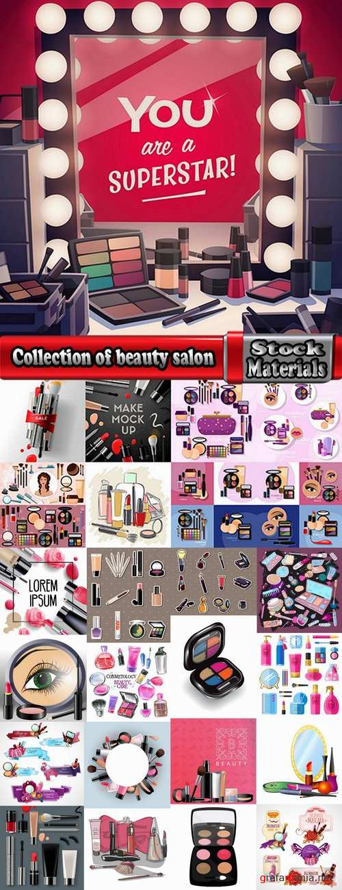 Collection of beauty salon hairdresser makeup manicure accessories for women nail polish 2-25 HQ Jpeg