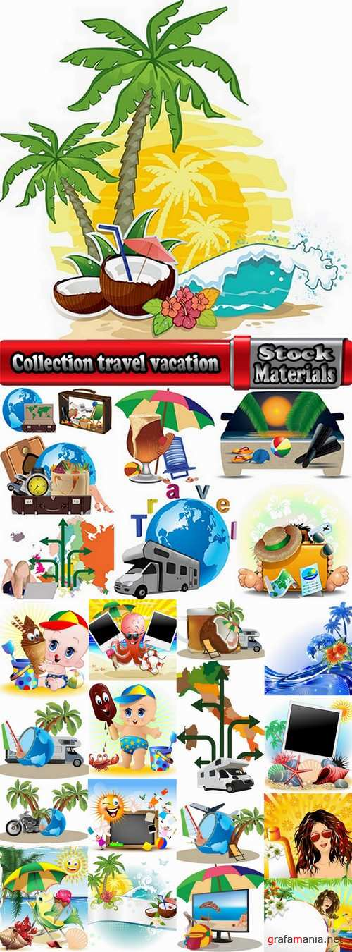 Collection travel vacation beach vacation drink juice vector image 2-25 EPS