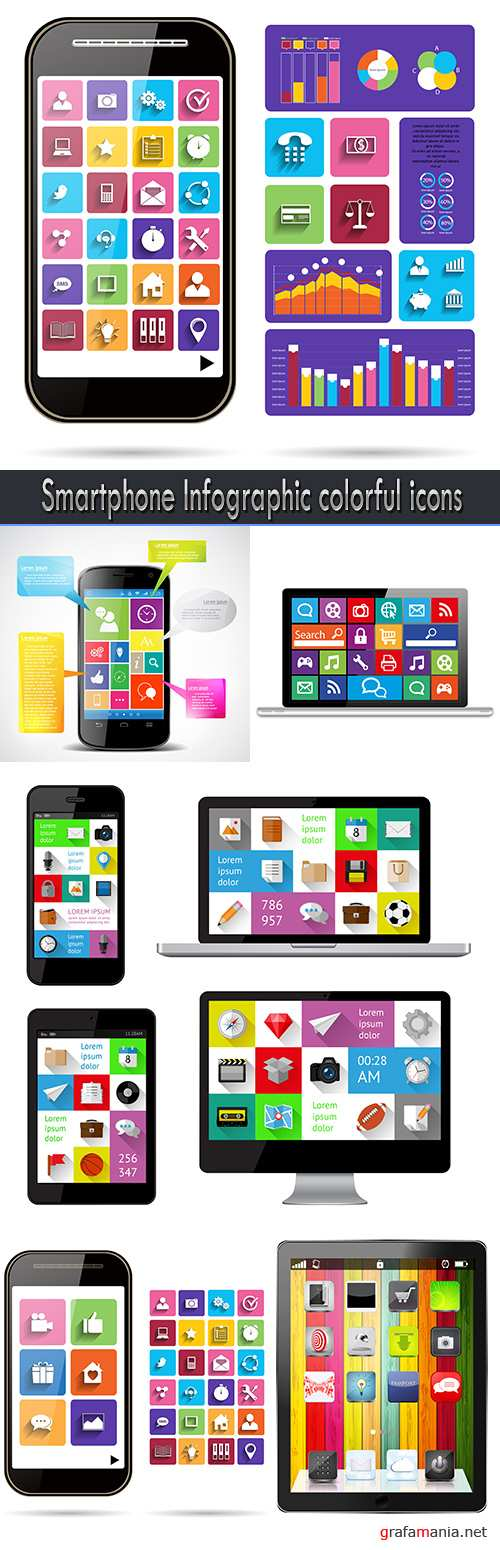 Smartphone Infographic colorful icons