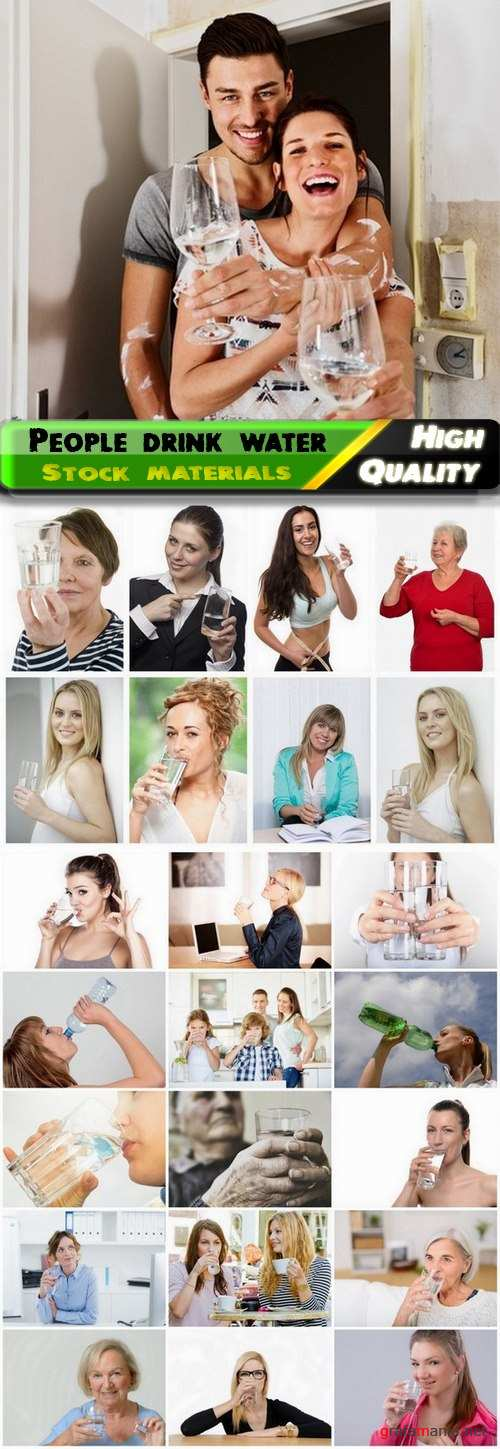 People drink clean water from a glass - 25 Hq Jpg