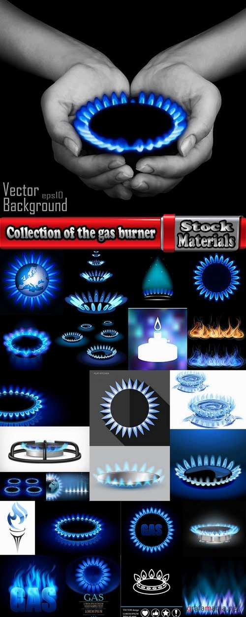 Collection of the gas burner flame fire vector image 25 EPS