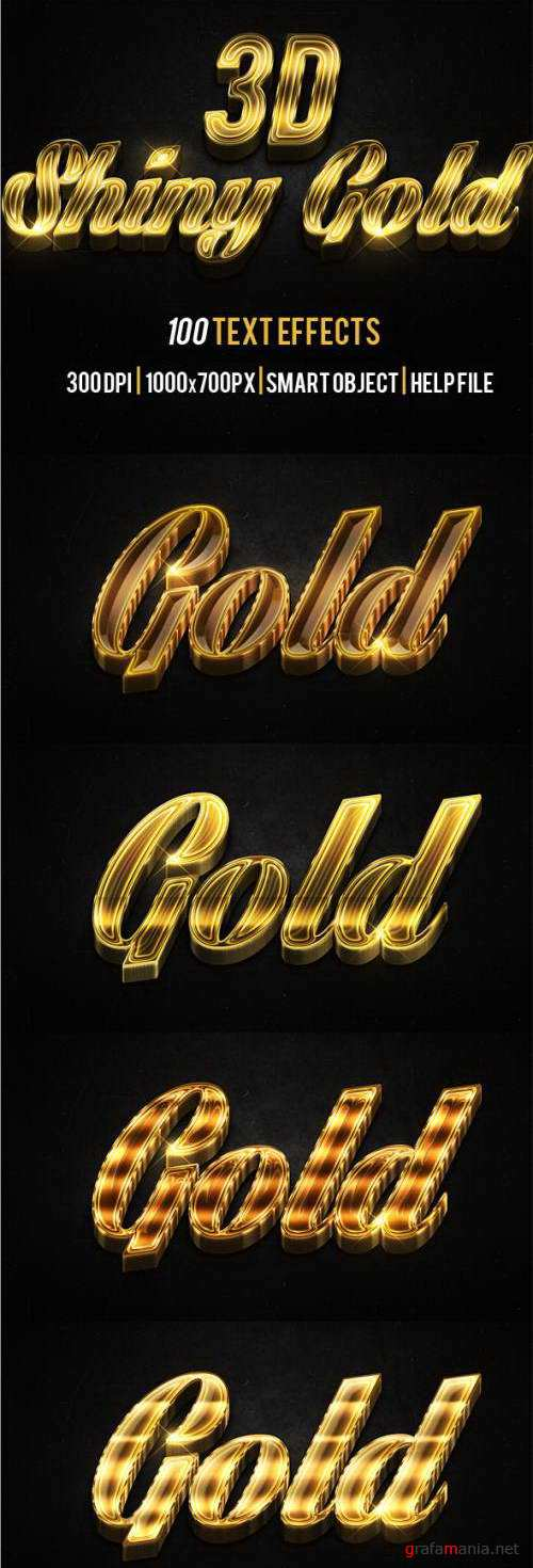 3D Shiny Gold Text Effects - 15550334