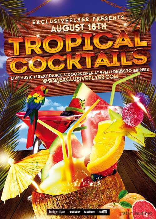Tropical Cocktails Party V5 Club and Party Flyer PSD Template