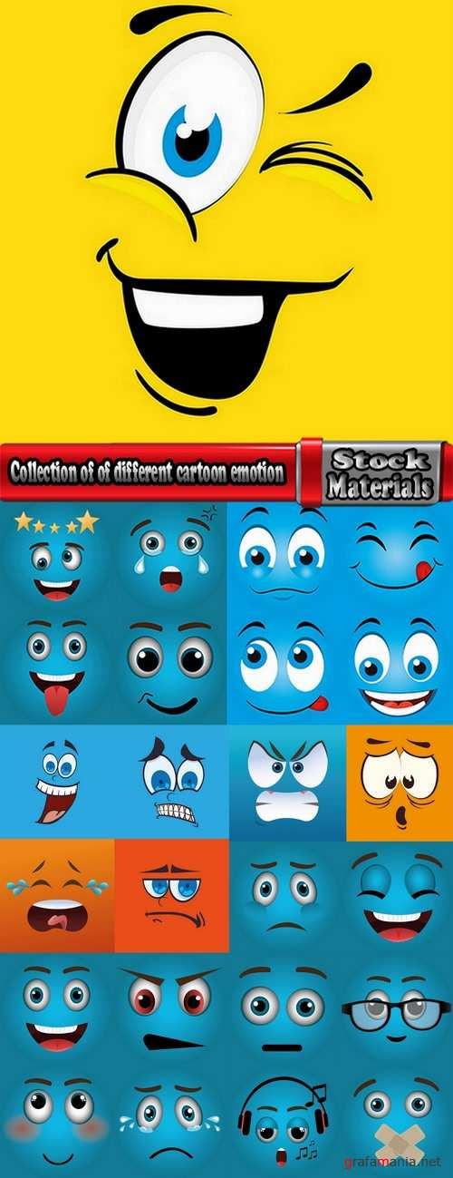 Collection of of different cartoon emotion facial expression monsters character 25 EPS