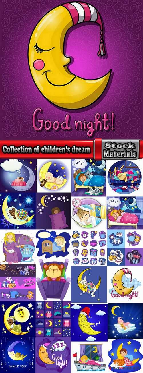 Collection of children's dream holiday dream gift card 25 EPS