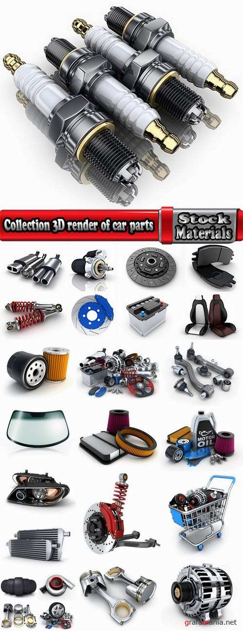 Collection 3D render of car parts shock absorber piston brake shoes clutch spotlight 25 HQ Jpeg
