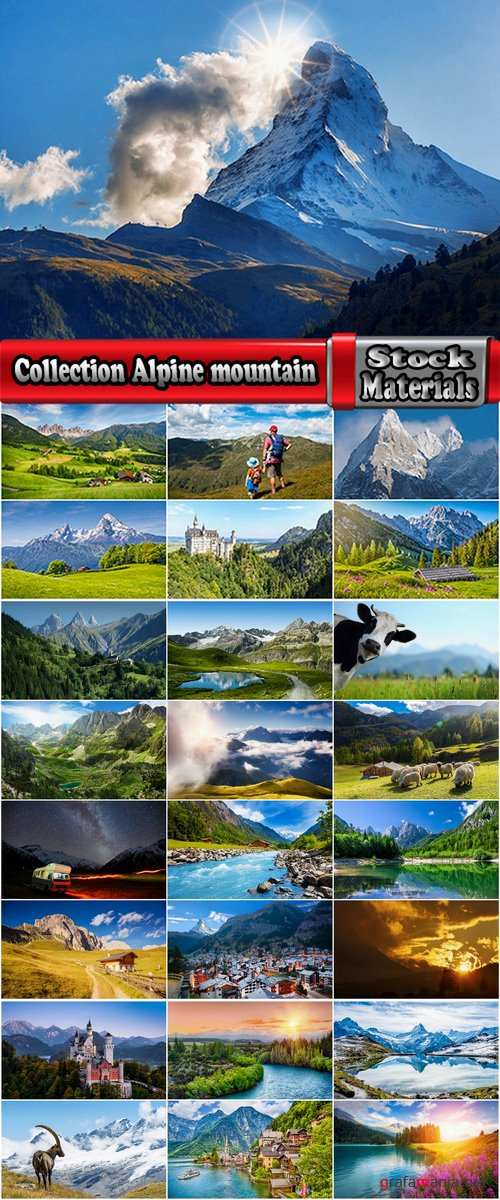 Collection Alps Alpine mountain cliff top resort mountain field meadow landscape 25 HQ Jpeg