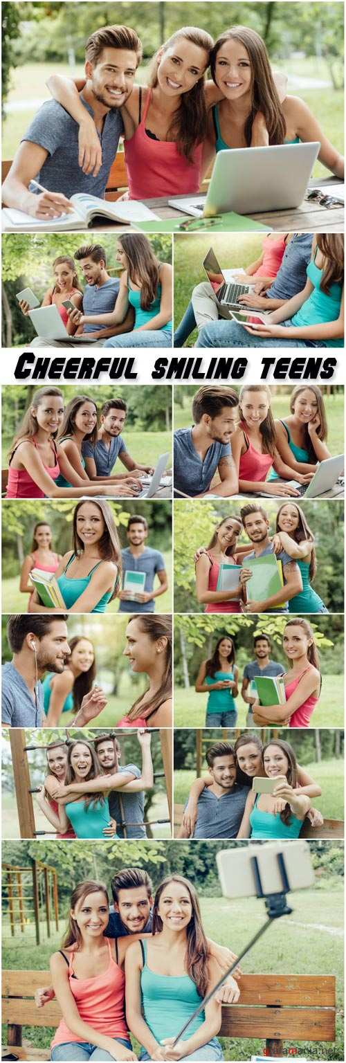 Cheerful smiling teens at the park