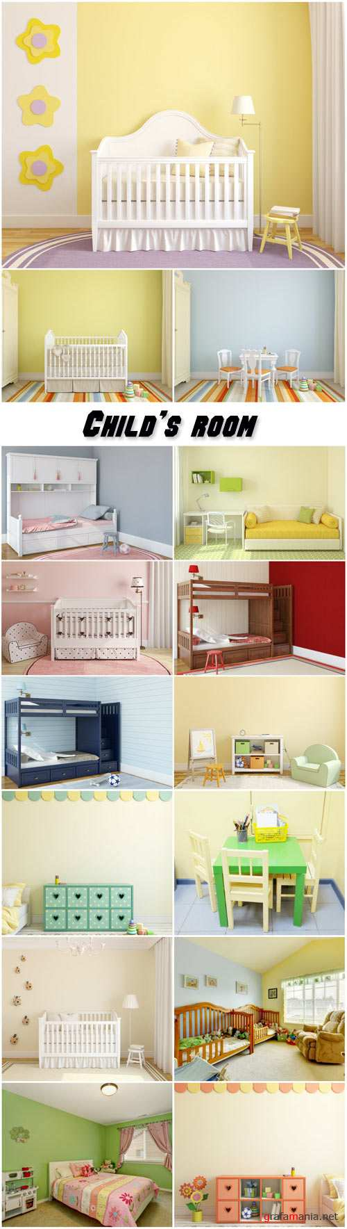 Child's room, bed and a table