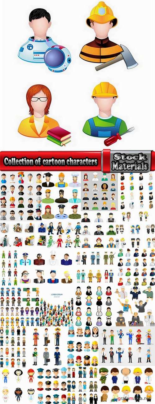 Collection of cartoon characters of different occupations cartoon icon flat man 25 EPS