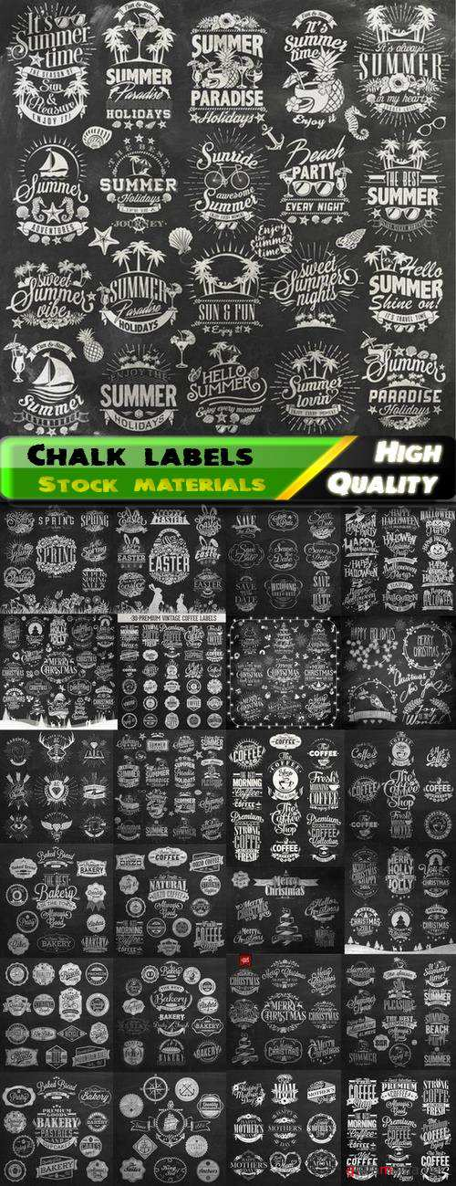 Chalk drawings of labels and badges - 25 Eps
