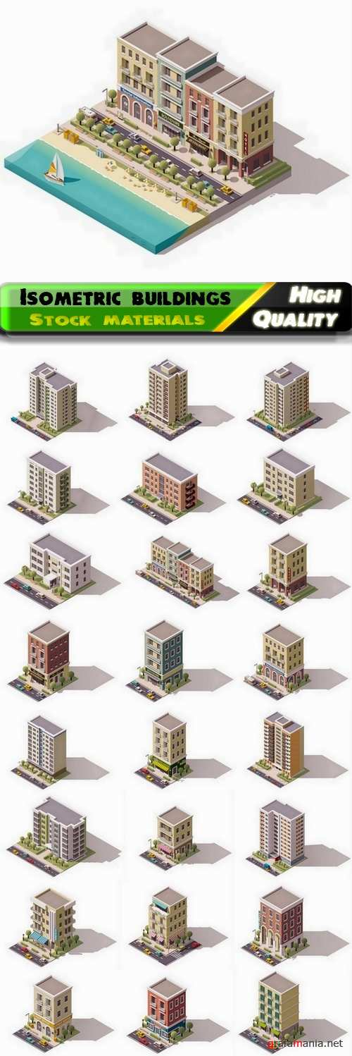 Isometric buildings and factories and skyscrapers 3 - 25 Eps