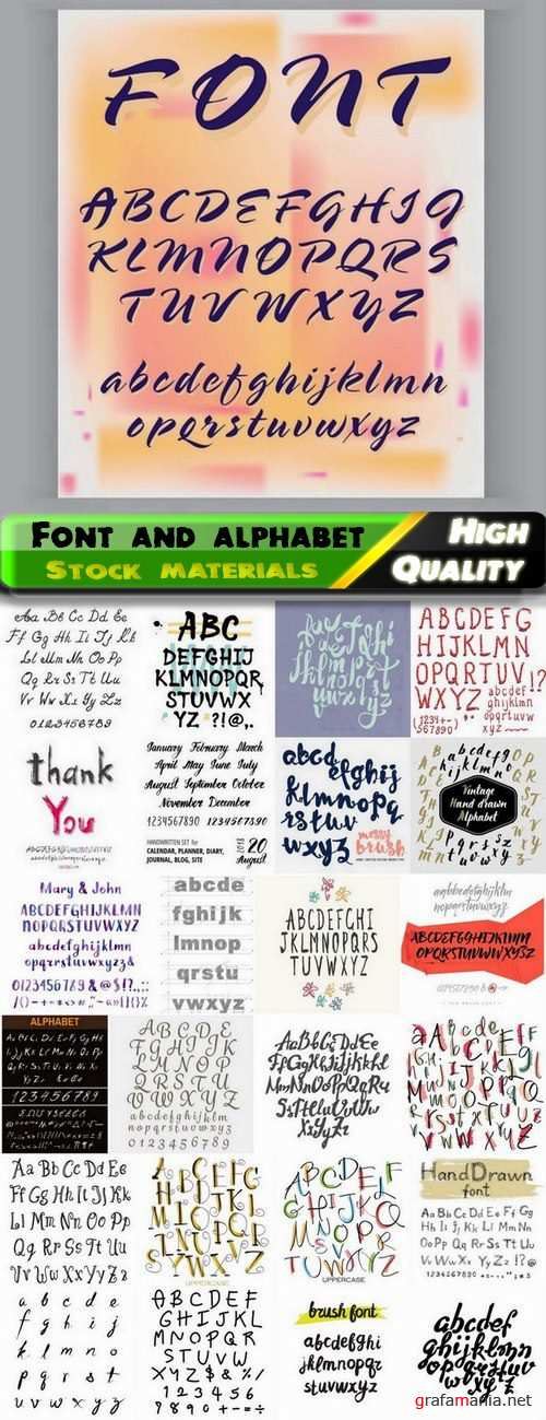 Font and hand lettering alphabet- 25 Eps