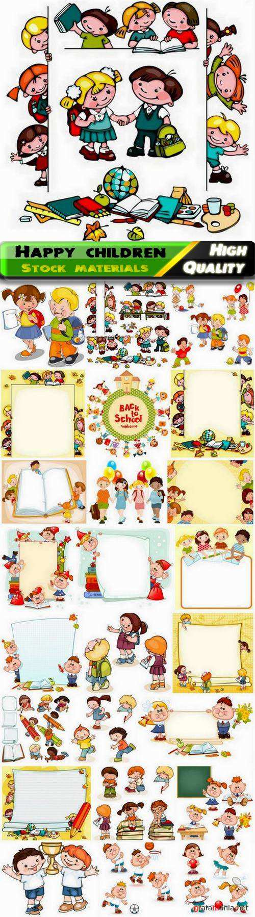 Illustration of happy playing kids and children - 25 Eps