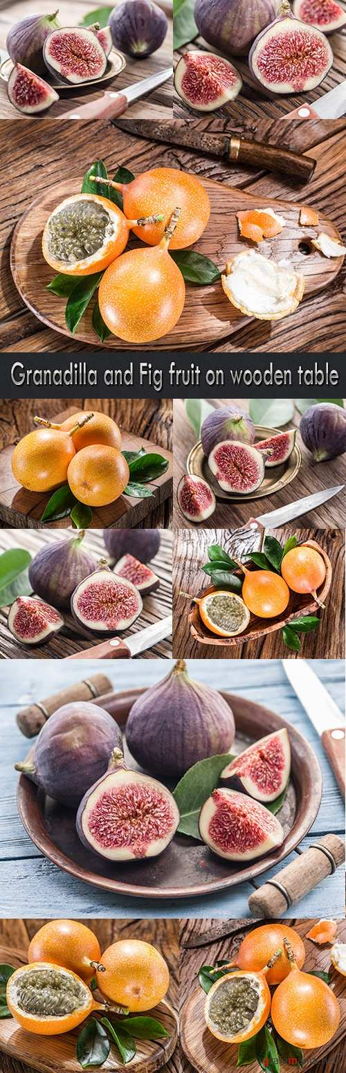 Granadilla and Fig fruit on wooden table