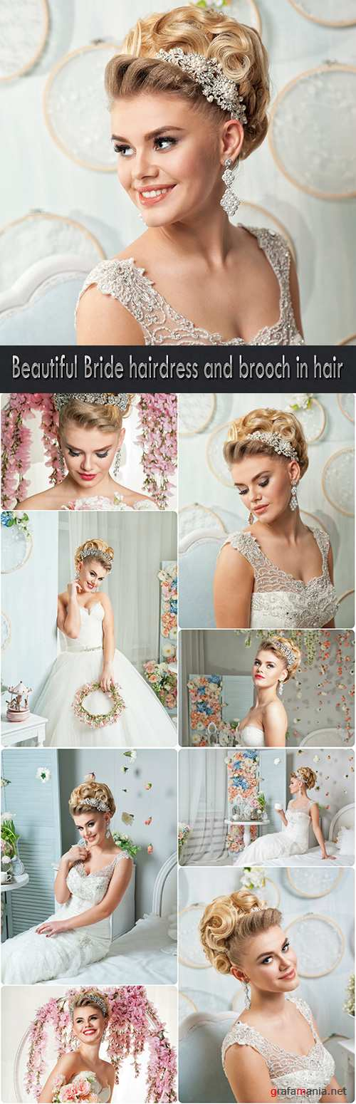Beautiful Bride hairdress and brooch in hair