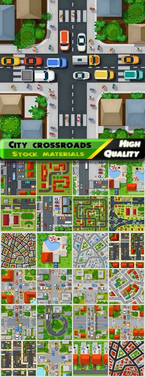 City crossroads and buildings top view - 25 Eps