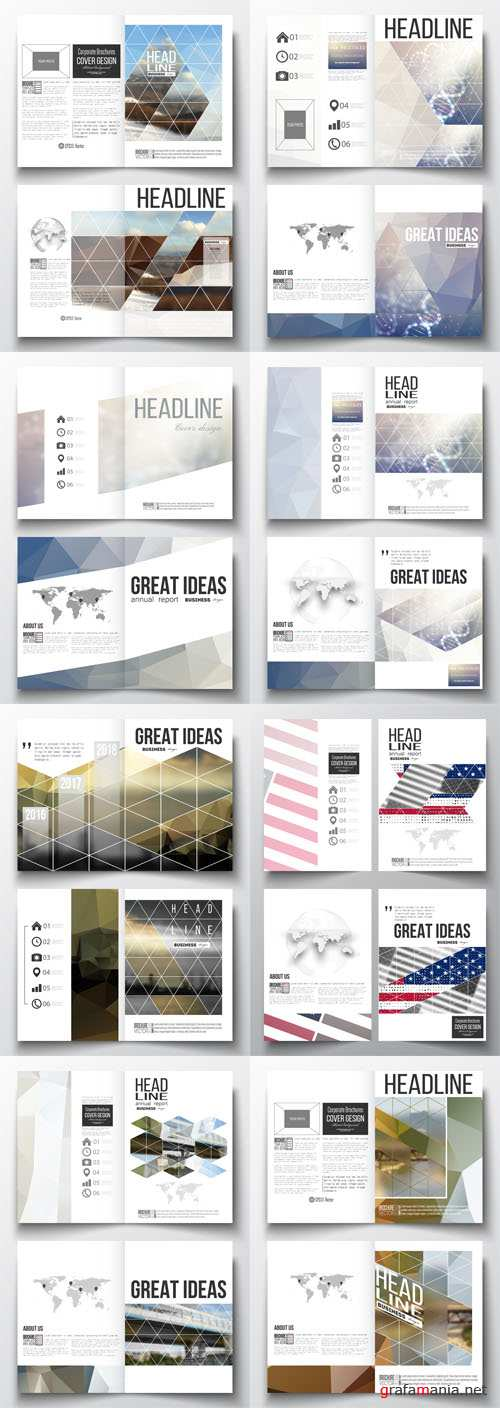 Vector Business Templates for Brochure Magazine