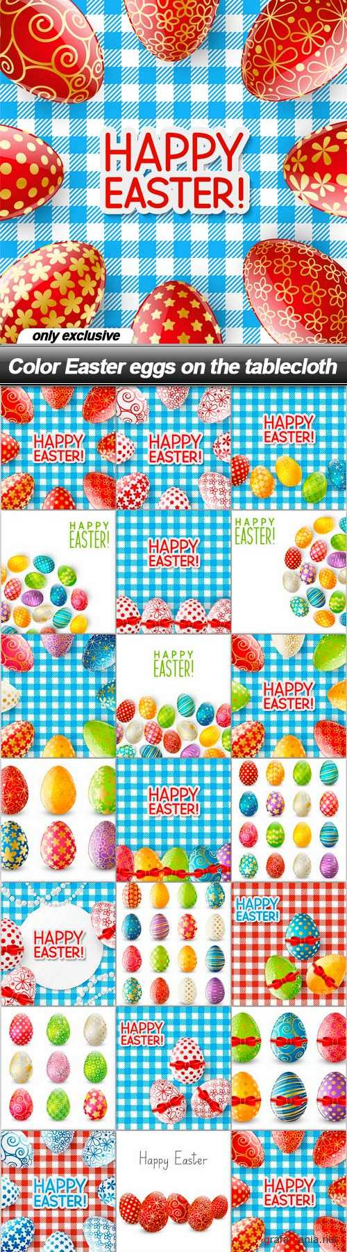 Color Easter eggs on the tablecloth - 20 EPS