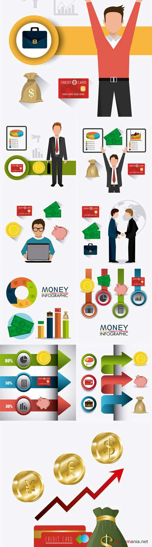 Vector Business Growth and Money Savings Statistics