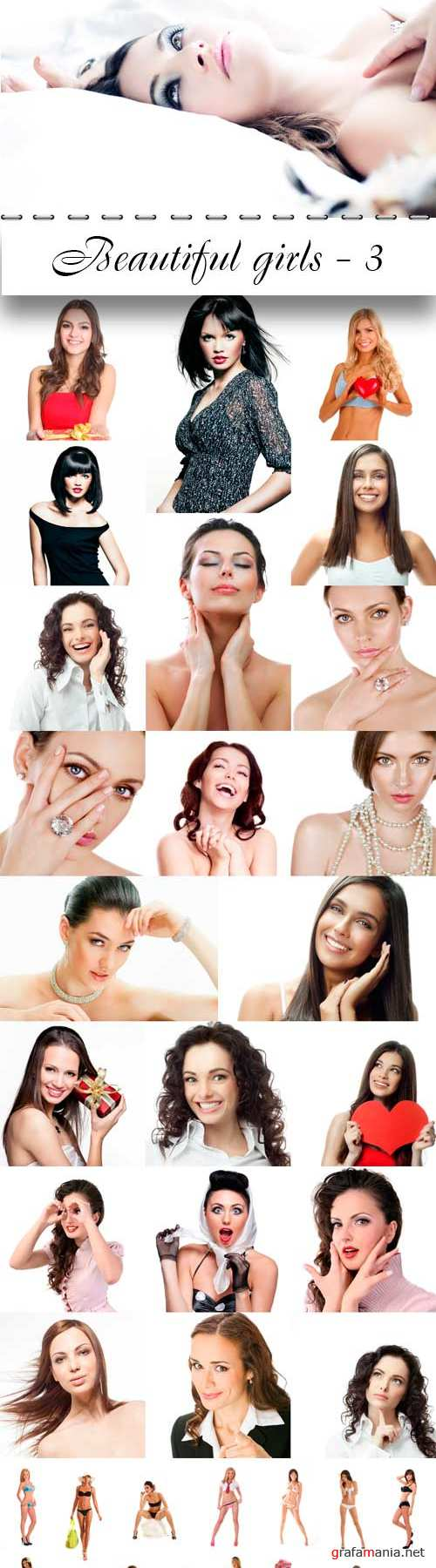 Beautiful girls collection - 3. Ladies on a white background