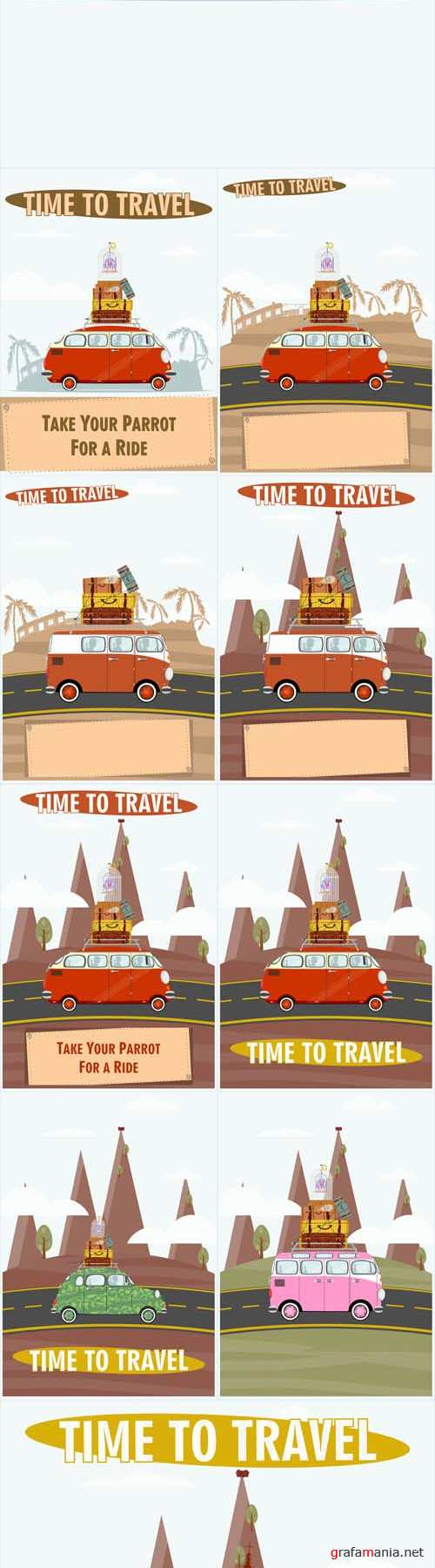 Vector Time to Travel Illustration of an Old Car on a Landscape Background
