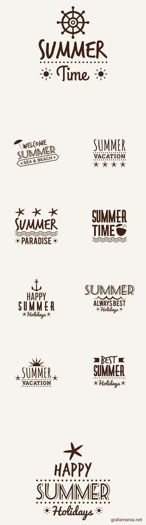 Vector 10 Summer Vacation Labels