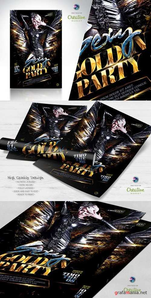 Sexy Golden Party Flyer Template - 661686