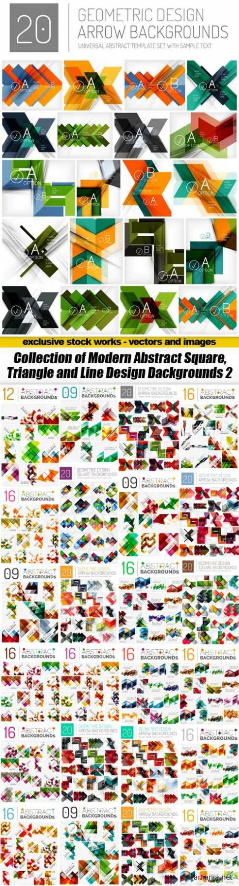 Collection of Modern Abstract Square, Triangle and Line Design Dackgrounds 2 - 25xEPS
