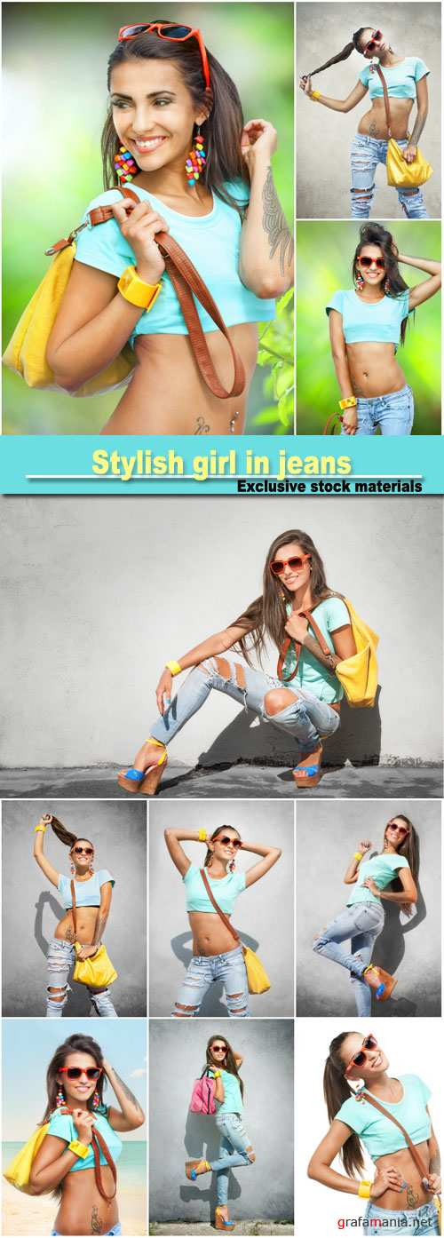 Stylish girl in jeans