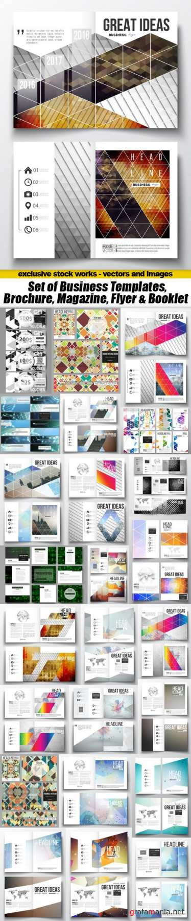 Set of Business Templates, Brochure, Magazine, Flyer & Booklet - 25xEPS