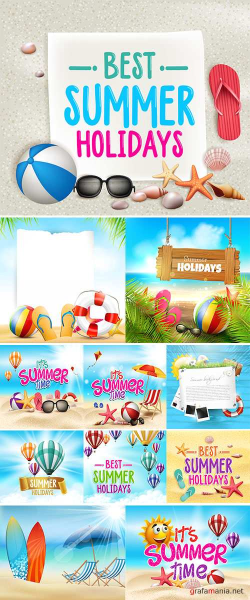 Stock vector Summer Time in Beach Sea Shore with Realistic Objects