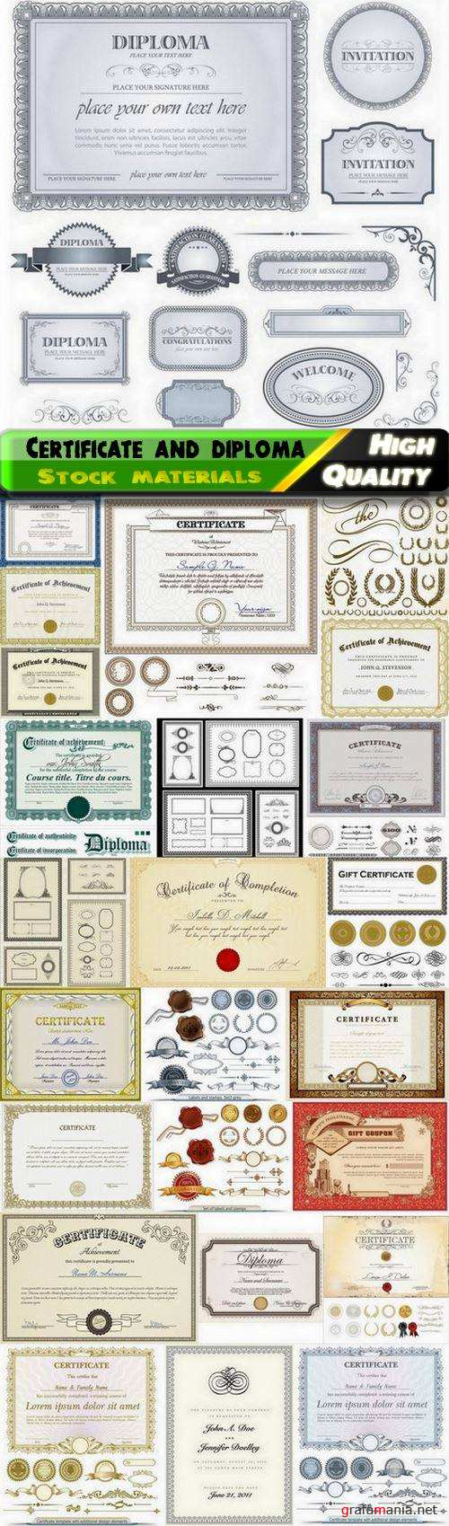 Certificate and diploma with guilloche stamp and frame - 25 Eps