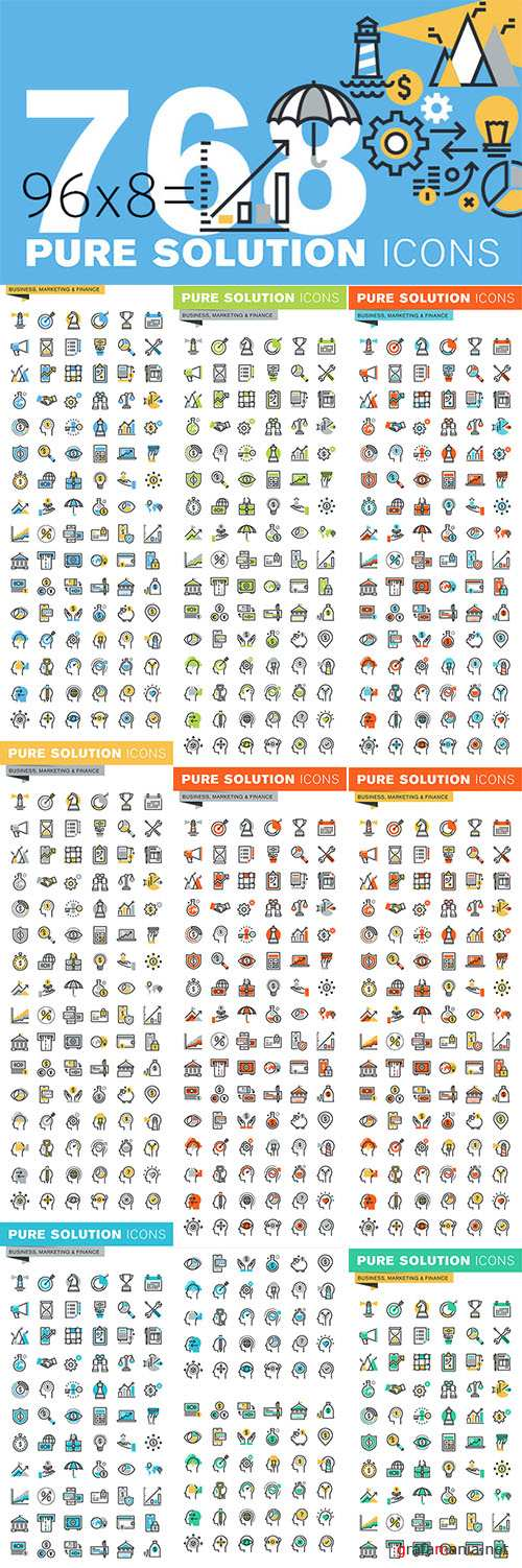 Set of Thin Line Icons of Finance - Creativemarket 522304