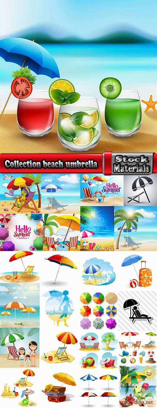 Collection beach umbrella illustration summer beach vacation beach vacation parasol 25 EPS