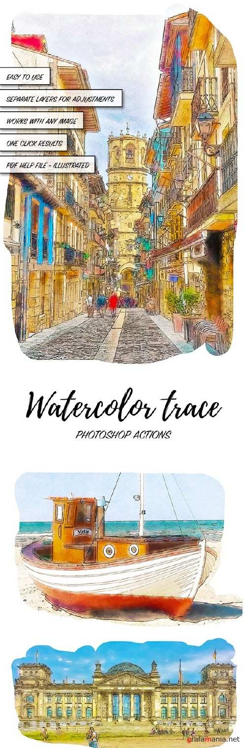 Watercolor Trace - Photoshop Actions  - 16047140